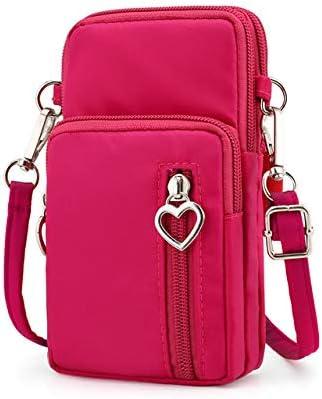 Zipper Water Resistant Oxford Crossbody Shoulder Bag Cellphone Pouch Purse Wrist Case for Motorola Moto G7 Plus / G7 Play/Samsung Galaxy S10 / S10e / S10 Plus/LG G8 ThinQ / V50 ThinQ (Pink)