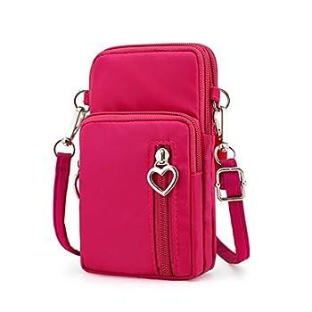 Women Zipper Crossbody Shoulder Bag Cellphone Pouch Purse Wrist Case for Samsung Galaxy Note 10 / A10 / A10e / A20 / A50 / J7 Star/Motorola One Vision/Moto G7 Power/Razer Phone 2  Pink