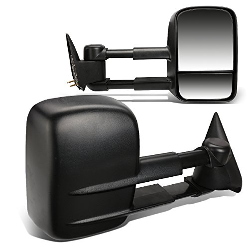 Pair Black Manual Telescoping Folding Rear View Towing Mirrors Compatible with Chevy/GMC Silverado Sierra GMT800 99-07