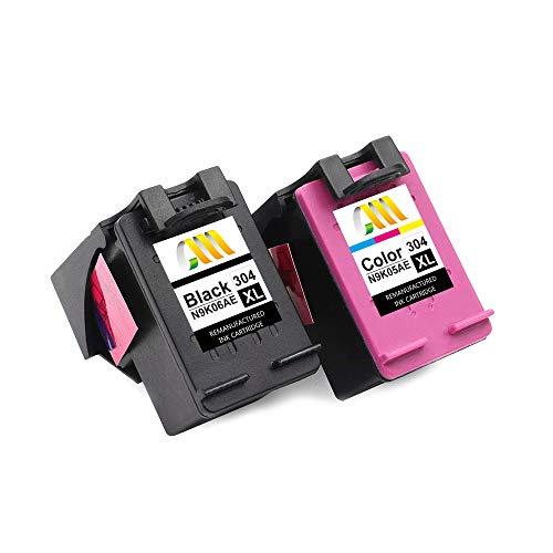 CMCMCM Cartucho de Tinta Remanufacturado para HP 304 304XL para HP Deskjet 3760 3762 2630 3720 3750 3764 2632 2633 2634 2620 2622 3730 3733 3735 HP Envy 5010 5030 5032 5020 (1 Negro, 1 Color)