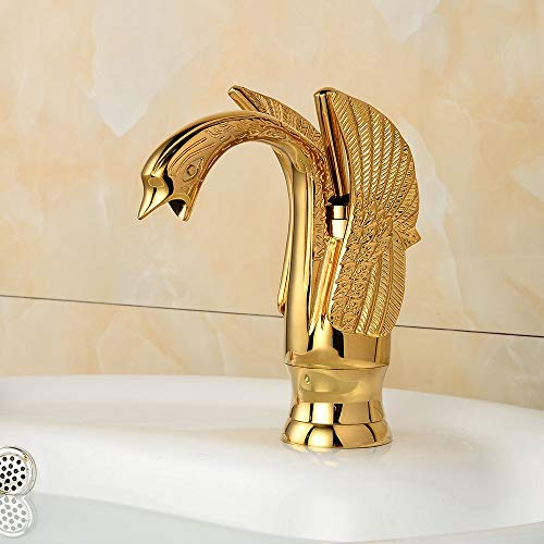 The only good quality XinMeiMaoYi grifos Golden Faucet Swan Shape Hot and Cold Faucet Bathroom Retro Faucet Single Hole Faucet