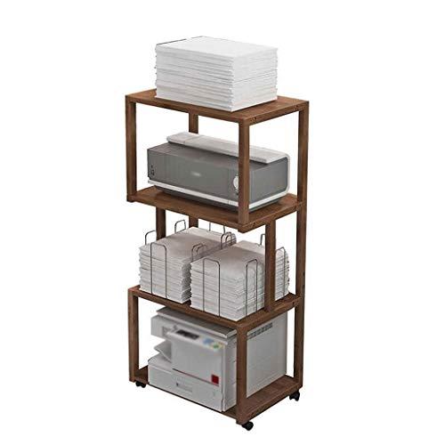Soportes para impresoras Soporte de impresora de bambú, escritorio de impresora de piso de múltiples capas, estantería de fax móvil adecuado para la mesa de almacenamiento multifuncional del dormitori