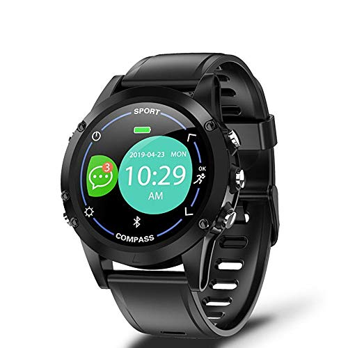 Reloj inteligente, de 1 pulgada de círculo completo, semitransparente, Trans-Reflectante, detección de salud, recordatorio inteligente, selfie, compatible con Android y iOS (color: negro).