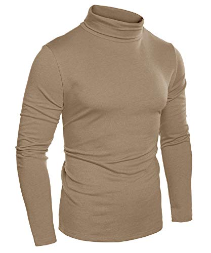 COOFANDY Mens Slim Fit Basic Thermal Turtleneck T Shirts Casual Knitted Pullover Sweaters Coffee
