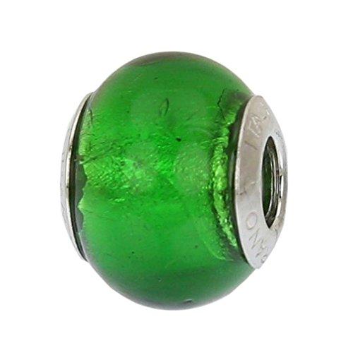 GlassOfVenice - Abalorio de cristal de Murano, plata de ley, color verde