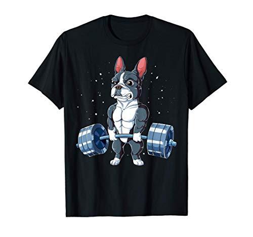 Boston Terrier Weightlifting Funny Deadlift Men Fitness Gym Camiseta