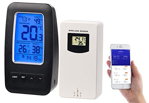 infactory Temperatur Datenlogger: Thermometer/Hygrometer-Datenlogger mit Außensensor & App-Unterstützung (Funk Außensensor)