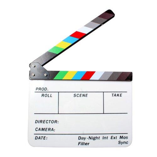 Andoer® Claqueta Plástica acrílica de Cine Seco y Borrado Director film clapboard (9.85x 11,8 pulgadas) con los palillos del color Directora de acrílico de la tablilla de borrado en seco cinem