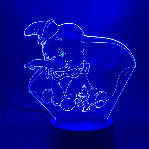 Onlymygod Luces 3D Lámpara Táctil Decoración del Hogar Niños Niña Niños Niños Regalo Bebé Dormitorio Ambiente Luz de Noche LED Elefante Batería y Carga USB