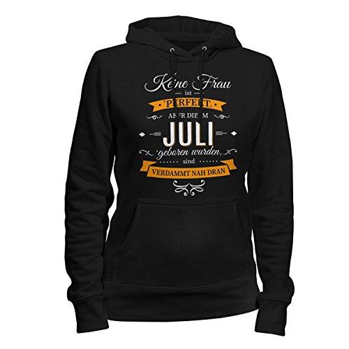 Fashionalarm Damen Kapuzen Pullover - Keine Frau ist perfekt - Juli | Fun Hoodie mit Spruch als Geburtstag Geschenk Idee, Farbe:schwarz;Größe:S