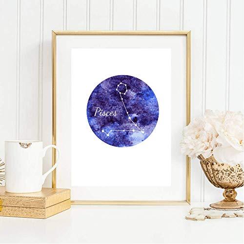 Din A4 Kunstdruck ungerahmt Sternzeichen Horoskop Fische Pisces Astrologie Sterne Sternhimmel Sternbild Druck Poster Deko Bild