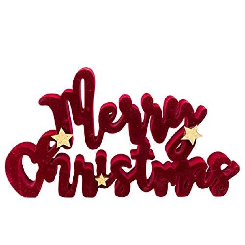Miss Lovely Weihnachts-Deko Schriftzug Merry Christmas Samt Bordeaux rot & Gold Glitzer - Weihnachts-Schmuck Deko-Figur Weihnachts-Dekoration Winter-Deko Aufsteller Advent Wohnungsdeko