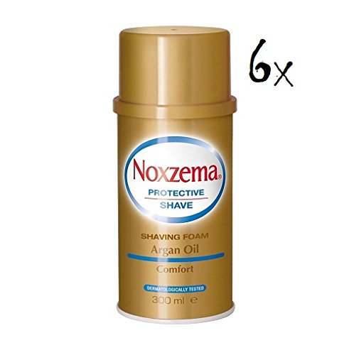 6X NOXZEMA Argan Oil Shaving Foam Cream Sapone Schiuma da Barba Olio Di Argan 300ML