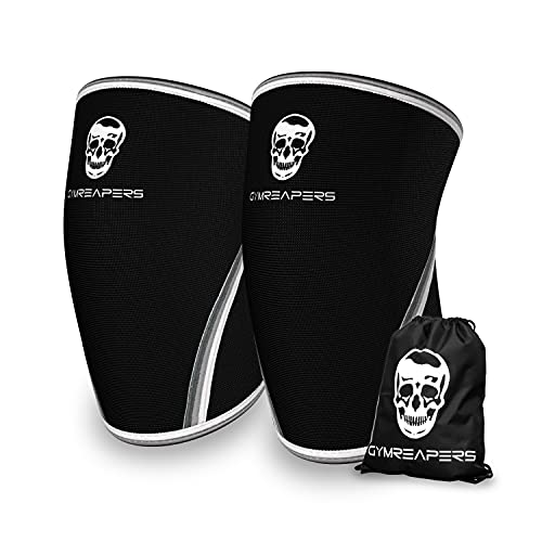 Knee Sleeves (1 Pair) with Gym Bag - Knee Sleeve & Compression Brace for Squats, Fitness, Weightlifting, and Powerlifting - Gymreapers 7MM Sleeve Pair - for Men & Women - 1 Year Warranty (Large)