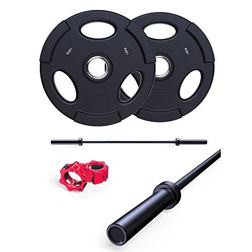 Discos de pesas Juego de barbell olímpico, 10 kg / 20 kg PU Placas de levantamiento de pesas Set 1.5M Barbell Olímpico Bar Gimnasio Ejercicio Barbell PowerLifting Kit for Fitness / Entrenamiento / Cap