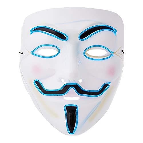 Ultra Azul El Cable Mascara Guy Fawkes Mascara Hacker Halloween Mask Disfraz LED Mascara Niños Adultos Cara Mascara LED Anonymous Mascara Cosplay Neon LED Careta