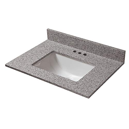 CAHABA CAVT0153 25 in x 19 in Napoli Granite Vanity Top with trough bowl and 4 in faucet spread