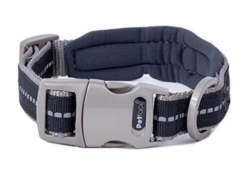 Petface Signature Padded Dog Collar, Large, Black with Grey Stitch