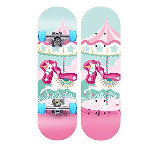 WHTBOX Kinderskateboards/Skateboard Kinder ab 5 Jahre,Stabilen Deck,Retro,Verschiedene Designs,Hohe Qualit,Geschenk FüR Erwachsene Jugendliche Kinder Jungen,Pink-B