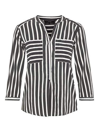 VERO MODA Damen Hemd mit 3/4 Ärmeln Gestreiftes LBlack