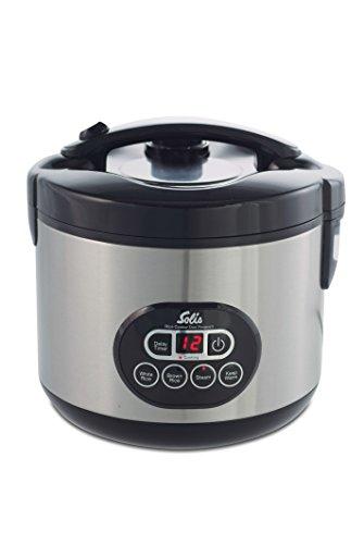 Solis rijstkoker en stoompan, wit/bruine rijst, timer en warmhoudfunctie, 6 kopjes, rijst, 1,2 liter, inclusief maatbeker en lepel, duo-programma (type 817)
