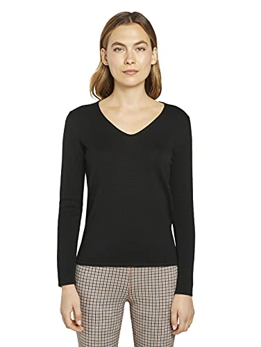 TOM TAILOR Damen Basic V-Neck Pullover, 29999-Black, XL