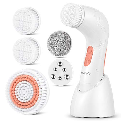 【New Version】ETEREAUTY Facial Brush Waterproof Body Facial Cleansing Brush Spin Brush for Deep Cleansing, Gentle Exfoliating and Removing Blackhead with 5 Brush Heads, Nude Pink