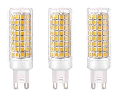JKLcom G9 LED Light Bulbs G9 Bi-Pin Base 9W (Equivalent to 100W Halogen Replacement) Warm White 3000K LED Corn Light for Home Living Room Bedroom Chandelier,102 LED 2835 SMD,Pack of 3