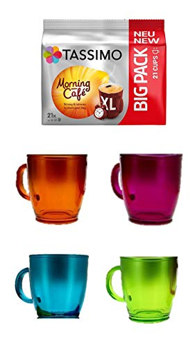 Tassimo Morning Café XL, Kaffee Kapseln + 4 Glastassen mit Henkel 380cc