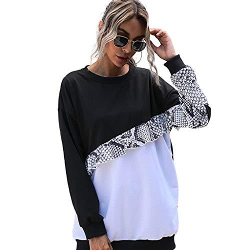 yueyang Damen-Langarm-Sweatshirt, Rundhalsausschnitt, Schlangenleder-Rüschen, Tunika, Tops