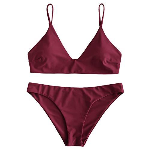 ZAFUL Women's Solid Spaghetti Strap Bralette Bikini Set Two Piece Swimsuit (Wine Red, S)