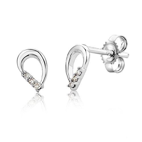 Miore Ohrringe Damen Ohrstecker Weißgold 9 Karat/375 Gold Diamant Brillianten 0.04 ct