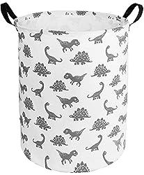 3. HUAYEE Cute Dinosaur Print Canvas Laundry Hamper