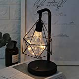 OUYAWEI Retro Hollow Iron Art LED Table Lamp for Bedroom Bedside Lighting Warm White