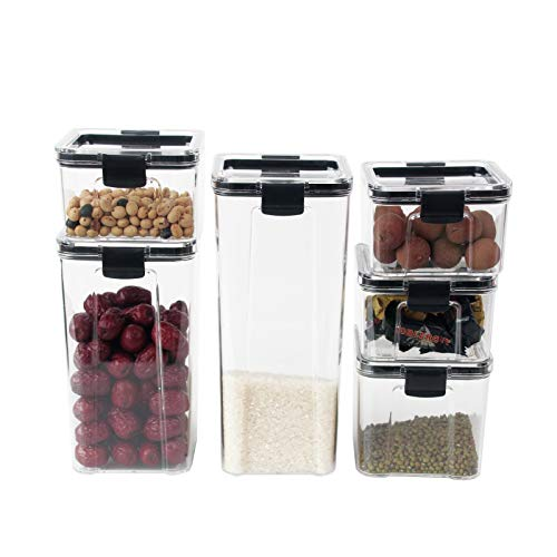 Cereal Containers Storage Set Kitchen And Food Clear Plastic Organization And Storagem Reusable Stackable Food Storage Containers With Lids Airtight 6pieces Storage Container For Food Snacks Pasta