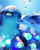 Tony plate Pintura por números Imagen de Animal delfín Pintura al óleo por números Kit de Pintura a Mano de mar Lienzo decoración del hogar Regalo Arte de Pared-5_40x50cm