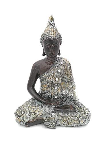 G.W. Buddha-Figur meditierend sitzend, 24 cm in schwarz Silber, Deko-Artikel für Wohnung & Haus, Buddha-Skulptur, Zen Garden, Wohnaccessoire, schöne Thai Statue