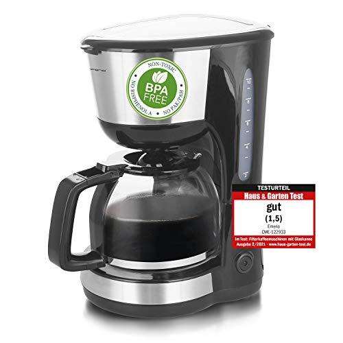 Emerio CME-122933, Filter Kaffeemaschine, 1.25l für bis zu 10 Tassen frischen Kaffee, herausnehmbarer Permanent-Filter, Anti-Tropf-Funktion, Kaffeekanne aus Glas, Auto-Off, 1000 Watt, schwarz/silber