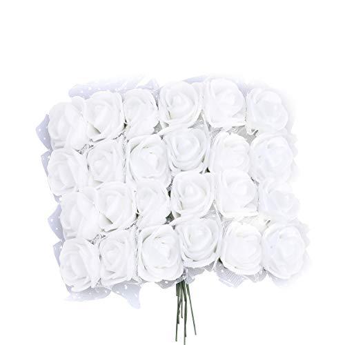 VORCOOL 144pcs Flores Artificiales de Espuma Rose con el Cordón Cristalino Nupcial de Boda Ramo de Mesa Centro de Mesa Flores (blanco)