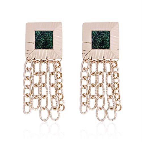 Oor manchetten voor vrouwen Metalen ketting Lange oorbellen voor vrouwen Boheemse geometrische kwast Dangle Oorbellen AccessoiresGroen