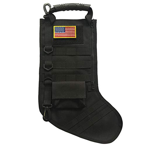 SPEED TRACK Tactical Christmas Xmas Stocking W/ Handle, Perfect Mantel Decoration, Gift for Veterans Military Patriotic and Outdoorsy People (Black)
