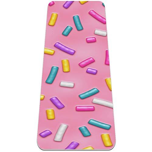 Esterilla Yoga Mat Antideslizante Profesional - Glaseado de rosquilla rosa - Colchoneta Gruesa para Deportes - Gimnasia Pilates Fitness - Ecológica