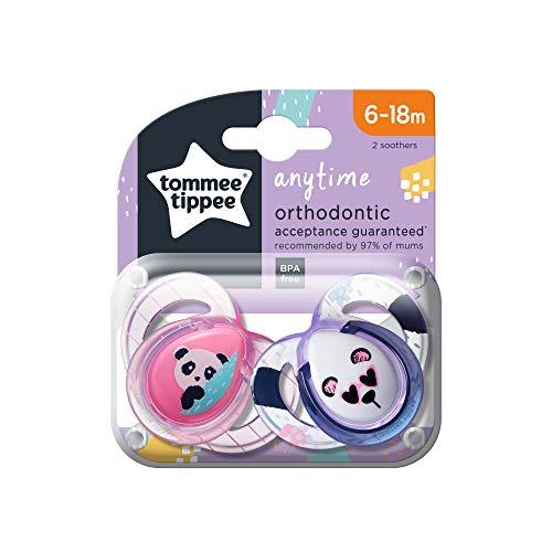 Tommee Tippee 43335572 - Chupetes para bebés entre 6 y 18 meses (niñas, pack de 2)
