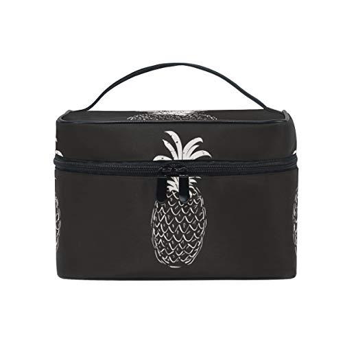 Schwarz Weiße Ananas Kosmetiktasche für Frauen Schminktasche Große Mädchen Damen Make Up Taschen...