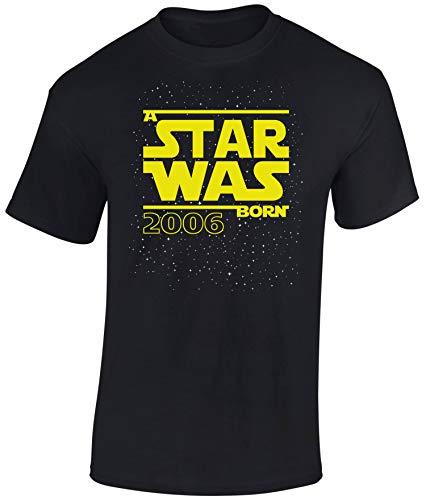 Geburtstags Shirt: Star was Born 14 Jahre - T-Shirt für Jungen und Mädchen - Geschenk-Idee zm 14. Geburtstag - Junge - Jahrgang 2006 - vierzehn-TER - Lustig Cool Kind-er - Trikot Pyjama (S)