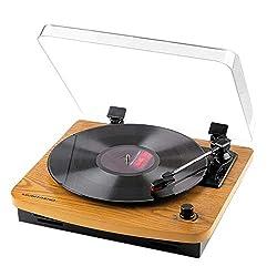 MUSITREND Plattenspieler Schallplattenspieler mit Stereo Lautsprechern, Vinyl-to-MP3 Funktion, 33/45/78 U/min - Naturholz