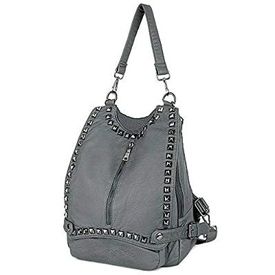 UTO Women Backpack Purse PU Washed Leather Rivet Studded Convertible Ladies Rucksack Shoulder Bag C Grey