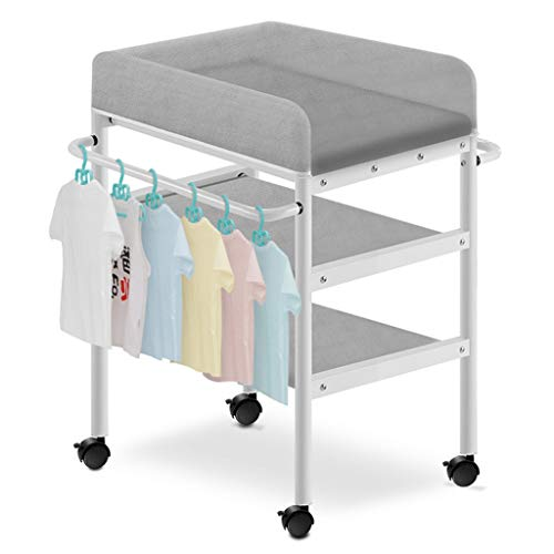 QZ Tables à Langer Table à Langer Grise pour garçons garçons, Station de Massage à Couches pour bébé pour Tout-Petit, avec Rangement, 0-3 Ans