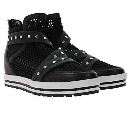 Marc Cain Mid Top Schuhe komforatble Damen Turn-Schuhe mit Reißverschluss an der Ferse Freizeit-Schuhe Mode-Schuhe Schwarz/Weiß, Größe:41