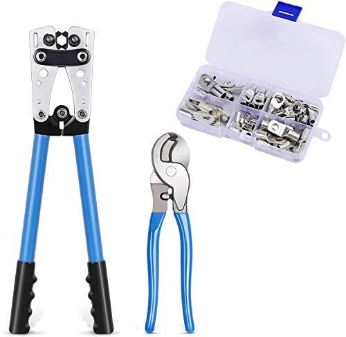 """Alicates para prensar Mango largo 6-50 mm con cortador de cable 9.4""""y kit de terminales de cable 60 piezas"""